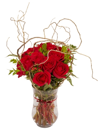 red roses with branches