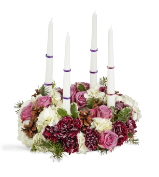 purple flowers, purple centerpiece