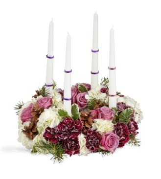 purple flowers, purple centerpiece