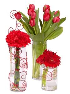Valentines Vase arrangements