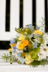 blue and yellow bridesmaids bouquet