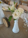 milkglass vases and burlap