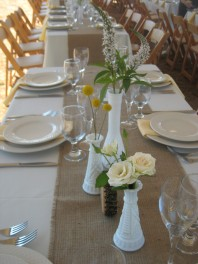 Milkglass wedding centerpieces
