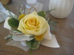 yellow corsage with burlap accents