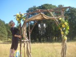 burlap wedding arch with flowers