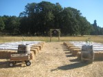 hay bale seating outdoor wedding