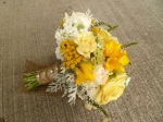 yellow and white bridal bouquet with burlap and rhinestones