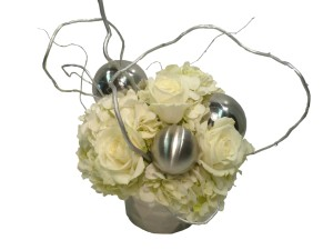 silver and white christmas flowers