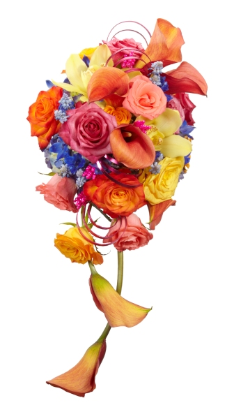 dramatic wedding bouquet in bright colors