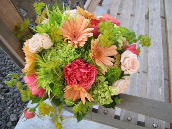orange and green bridal bouquet