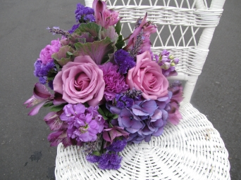 purple roses, hydrangea and lavender