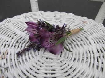 alstromeria and lavender boutonniere