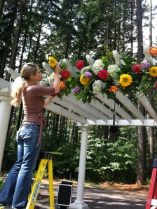 pergola wedding flowers