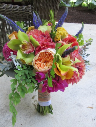 wedding bouquet with david austin roses, orchids, dahlias, veronica, roses, zinnias