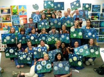 Dr Delphinium Painting with a Twist outing 2012