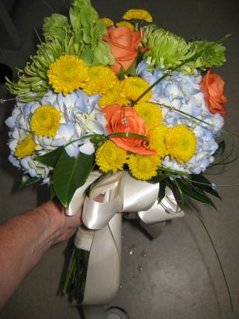 blue, green, yellow and orange wedding bouquet