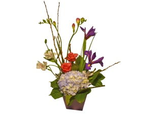 iris, hydrangea, roses, freesia